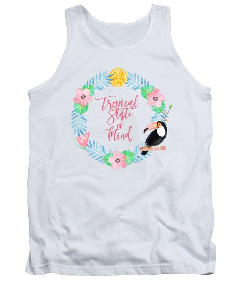 Tropical State Of Mind Pink Text Tank Top