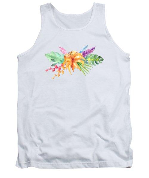 Tropical Watercolor Bouquet 4 Tank Top