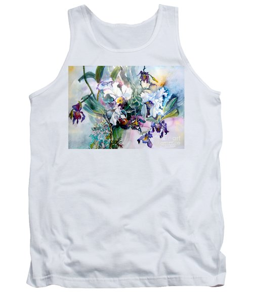 Tropical White Orchids Tank Top