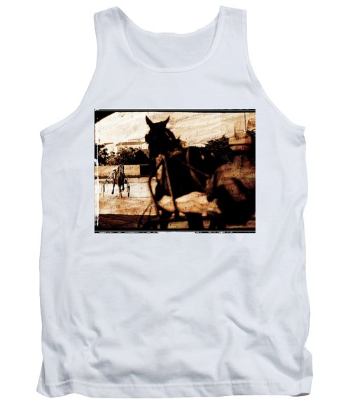 Tank Top featuring the photograph trotting 1 - Harness racing in a vintage post processing by Pedro Cardona