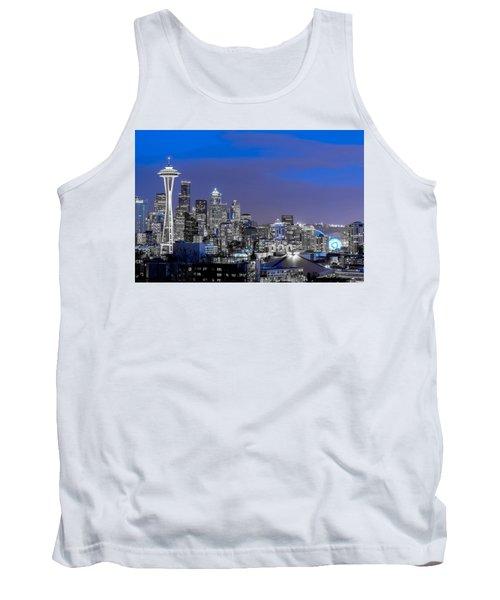 True To The Blue In Seattle Tank Top by Ken Stanback
