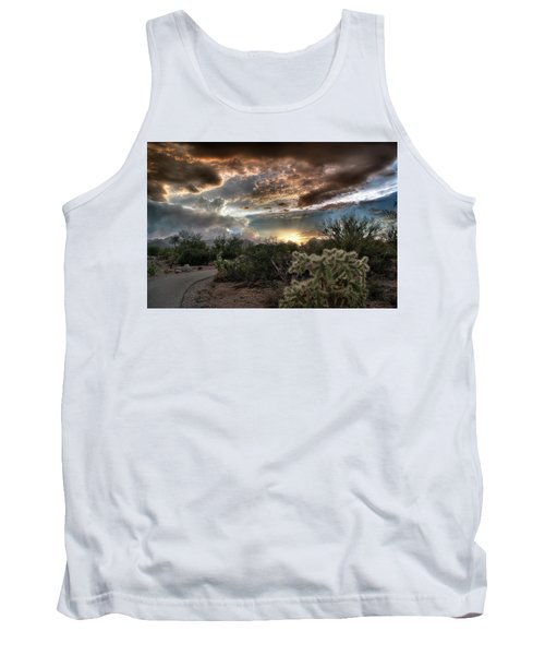 Tank Top featuring the photograph Tucson Mountain Sunset by Lynn Geoffroy