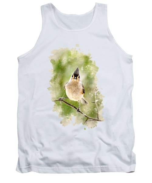Tufted Titmouse - Watercolor Art Tank Top by Christina Rollo