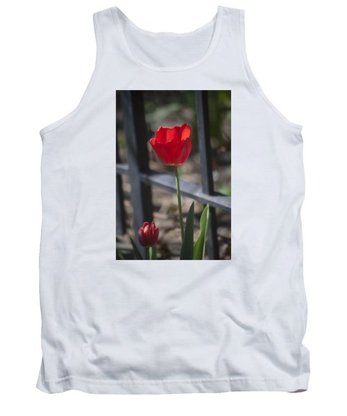 Tulip And Garden Fence Tank Top by Morris  McClung
