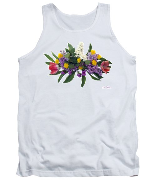 Tank Top featuring the digital art Tulip Lilac And Dandelion Bouquet by Lise Winne