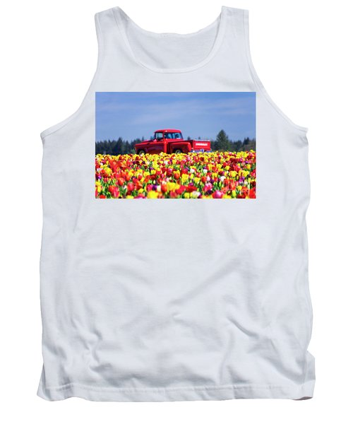 Tulips And Red Chevy Truck Tank Top