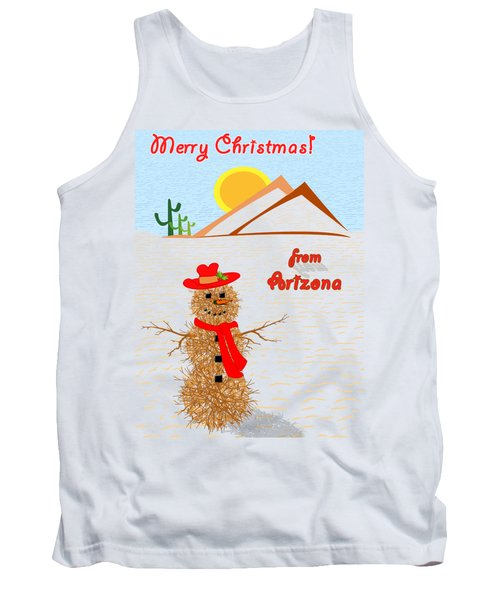Tumbleweed Snowman Christmas Card Tank Top by Methune Hively