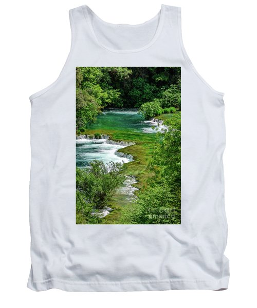 Turqouise Waterfalls Of Skradinski Buk At Krka National Park In Croatia Tank Top