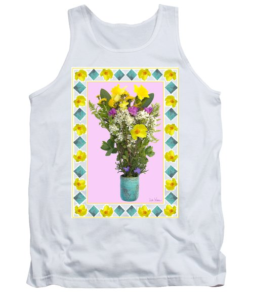 Tank Top featuring the digital art Turquoise Vase With Spring Bouquet by Lise Winne