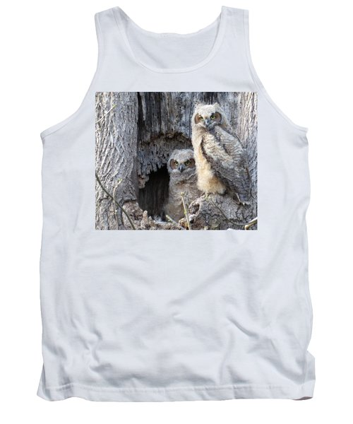 Tank Top featuring the photograph Twin Owls by Jeanette Oberholtzer