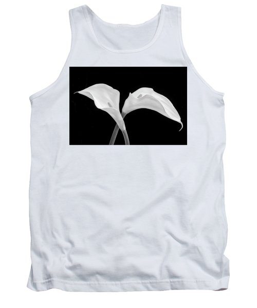 Two Beautiful Calla Lilies Black And White Tank Top