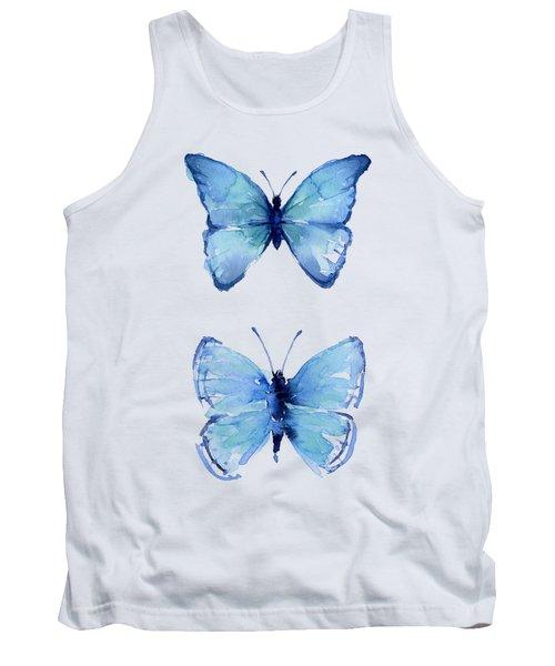 Two Blue Butterflies Watercolor Tank Top
