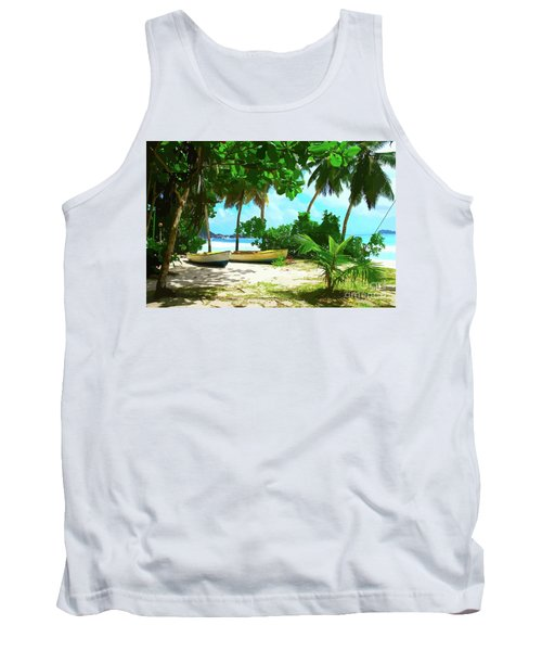 Two Boats On Tropical Beach Tank Top