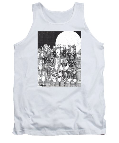Tank Top featuring the drawing Two Dozen And One Cats by Seth Weaver