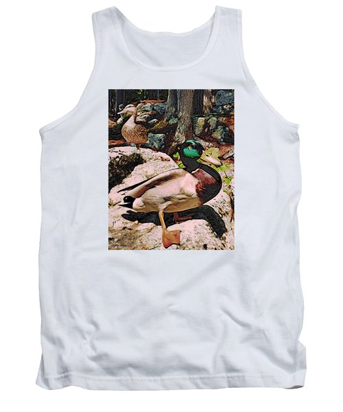 Tank Top featuring the photograph Ducks -dynamic Duo by Kathy Kelly