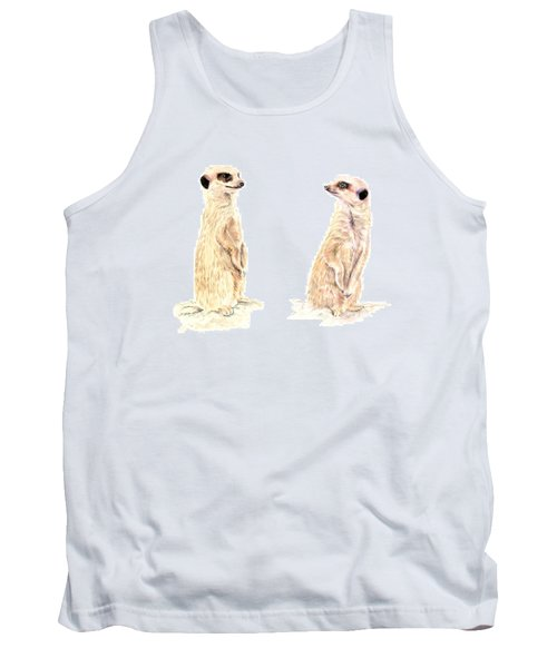 Tank Top featuring the mixed media Two Meerkats by Elizabeth Lock