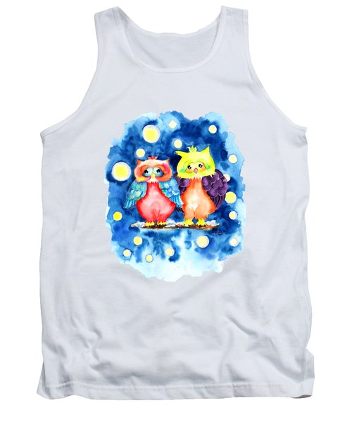 Two Owls And A Starry Night Tank Top
