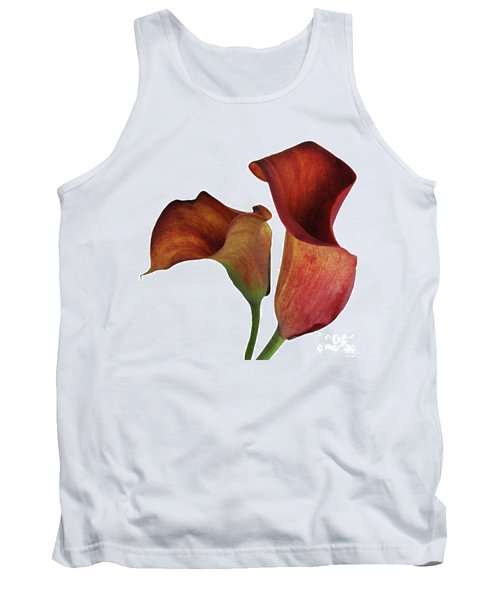 Two Rust Calla Lilies Square Tank Top