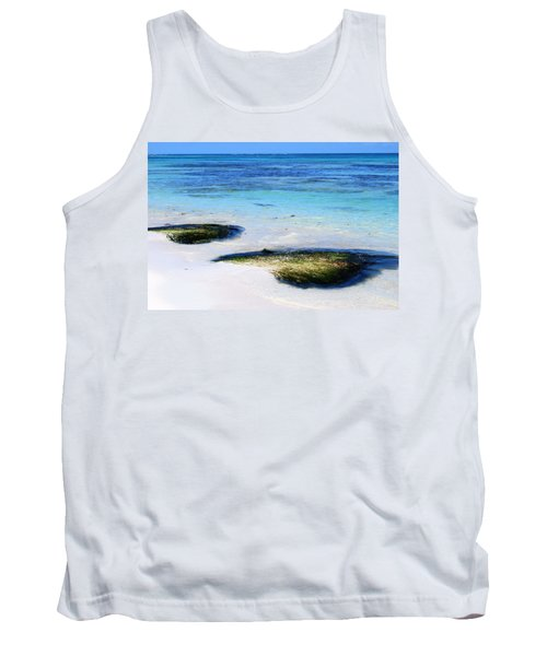 Two Seaweed Mounds On Punta Cana Resort Beach Tank Top by Heather Kirk