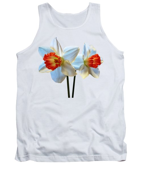 Two White And Orange Daffodils Tank Top