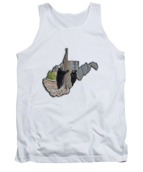 Two Young Black Bear Standing By Tree Tank Top by Dan Friend