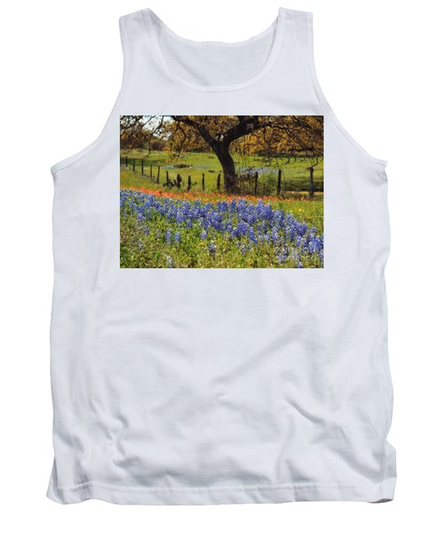 Tank Top featuring the painting Tx Tradition, Bluebonnets by Lisa Spencer