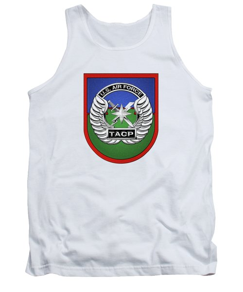 Tank Top featuring the digital art U. S.  Air Force Tactical Air Control Party -  T A C P  Beret Flash With Crest Over White Leather by Serge Averbukh