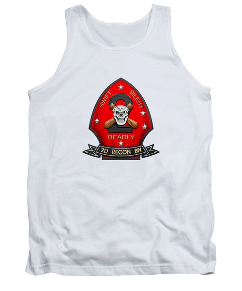 U S M C  2nd Reconnaissance Battalion -  2nd Recon Bn Insignia Over White Leather Tank Top