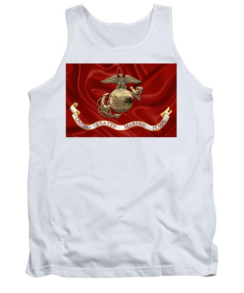 U. S.  Marine Corps - N C O Eagle Globe And Anchor Over Corps Flag Tank Top