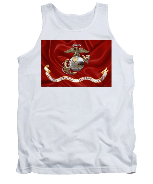 U. S.  Marine Corps - U S M C Eagle Globe And Anchor Over Corps Flag Tank Top