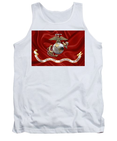 U. S.  Marine Corps - U S M C Eagle Globe And Anchor Over Corps Flag Tank Top