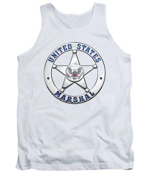 Tank Top featuring the digital art U. S. Marshals Service  -  U S M S  Badge Over White Leather by Serge Averbukh