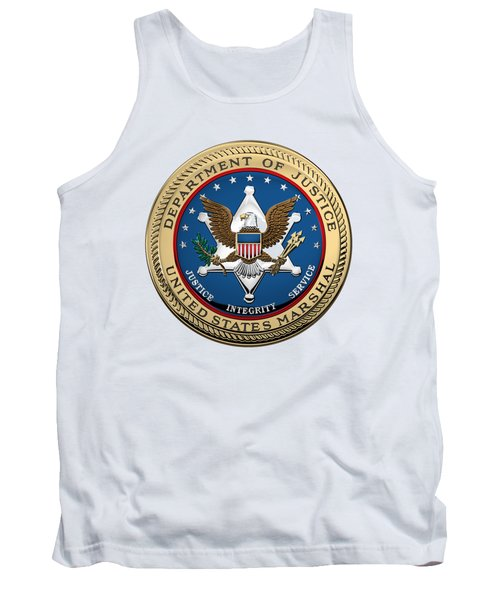 Tank Top featuring the digital art U. S.  Marshals Service -  U S M S  Seal Over White Leather by Serge Averbukh