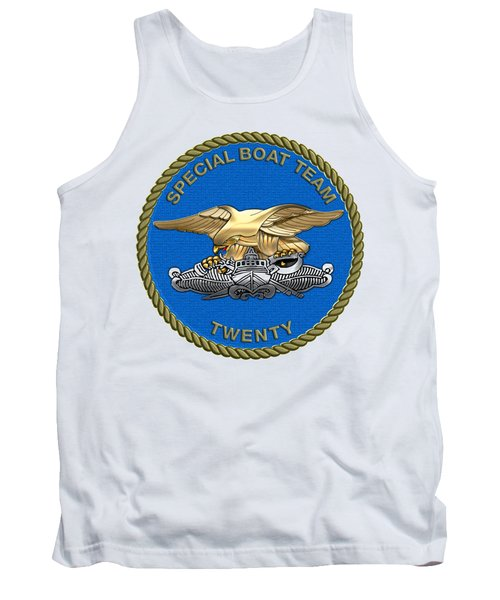U. S. Navy S W C C - Special Boat Team 20   -  S B T 20   Patch Over White Leather Tank Top