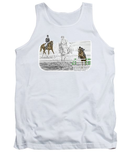 Ultimate Challenge - Horse Eventing Print Color Tinted Tank Top by Kelli Swan