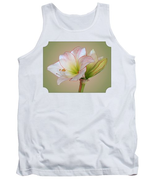 Unfurling Beauty - White Amaryllis With Red Trim Tank Top