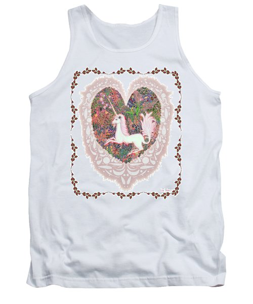 Unicorn In A Pink Heart Tank Top