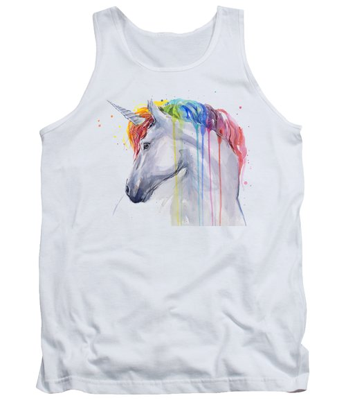 Unicorn Rainbow Watercolor Tank Top by Olga Shvartsur