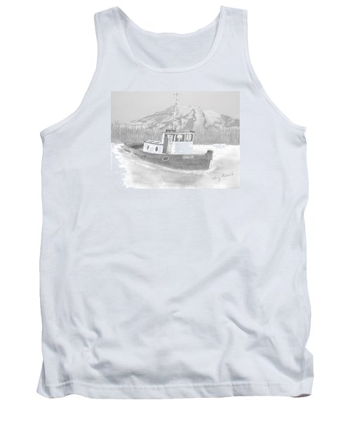Tank Top featuring the drawing Tugboat Union by Terry Frederick
