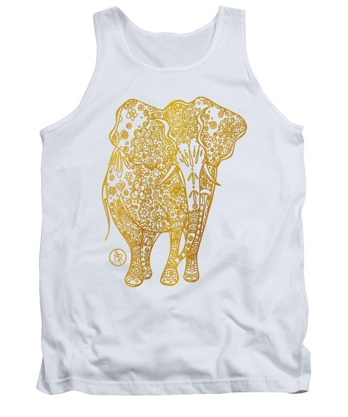 Unique Golden Elephant Art Drawing By Megan Duncanson Tank Top by Megan Duncanson
