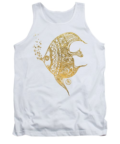 Unique Golden Tropical Fish Art Drawing By Megan Duncanson Tank Top