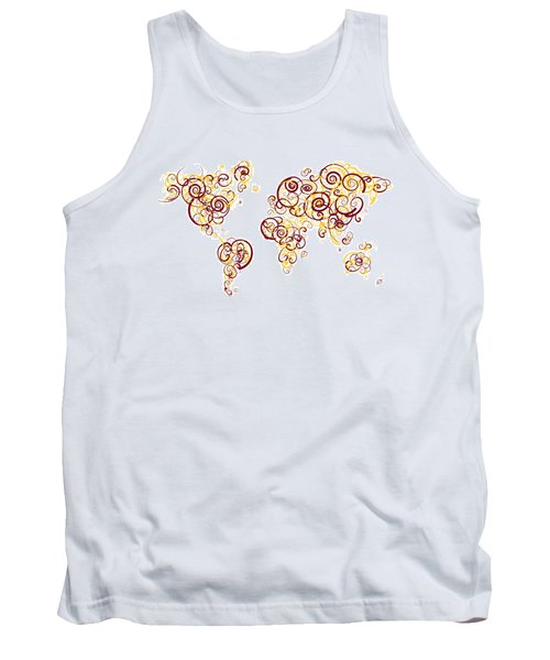 University Of Minnesota Twin Cities Colors Swirl Map Of The Worl Tank Top