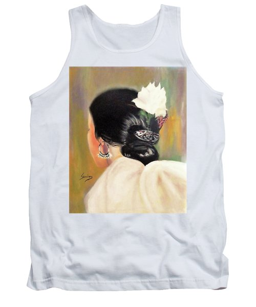 Untitled Dancer With White Flower Tank Top