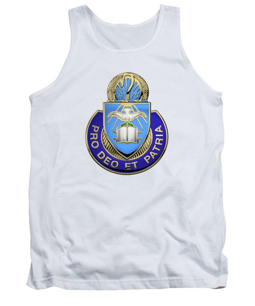 Tank Top featuring the digital art U.s. Army Chaplain Corps - Regimental Insignia Over White Leather by Serge Averbukh