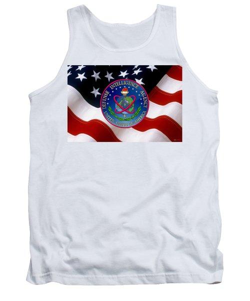 U. S. Defense Intelligence Agency - D I A Emblem Over Flag Tank Top