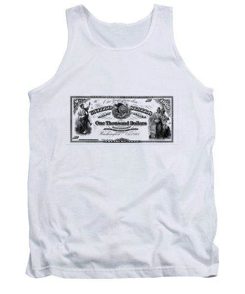 Tank Top featuring the digital art U.s. One Thousand Dollar Bill - 1863 $1000 Usd Treasury Note by Serge Averbukh