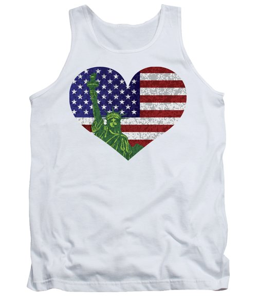 Usa Heart Flag And Statue Of Liberty Tank Top by Jit Lim