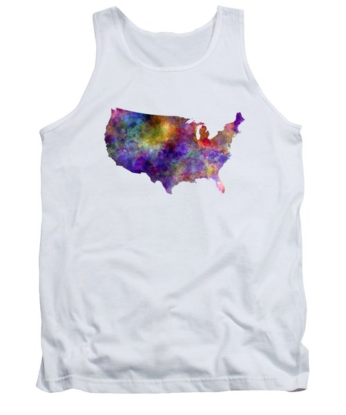 Usa Map In Watercolor  Tank Top