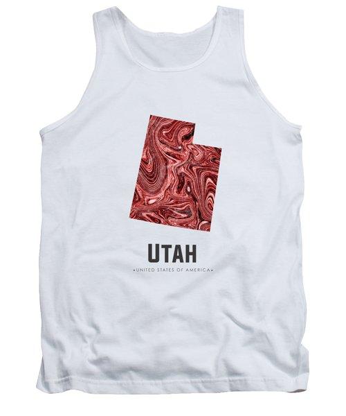 Utah Map Art Abstract In Deep Red Tank Top