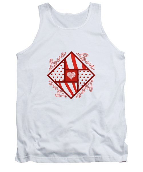 Tank Top featuring the digital art Valentine 4 Square Quilt Block by Methune Hively